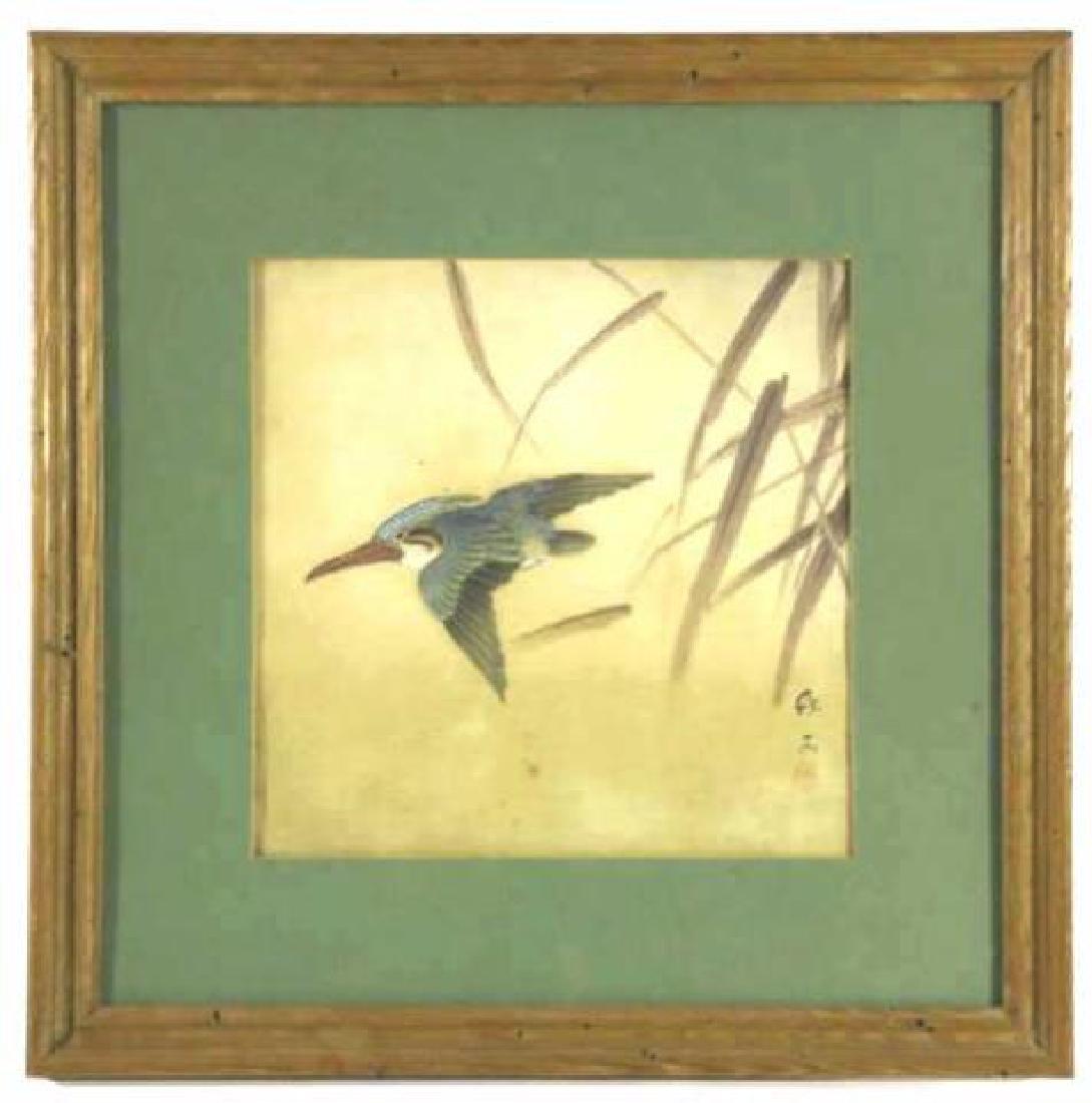 ASIAN  FRAMED BIRD WOODBLOCK ON SILK