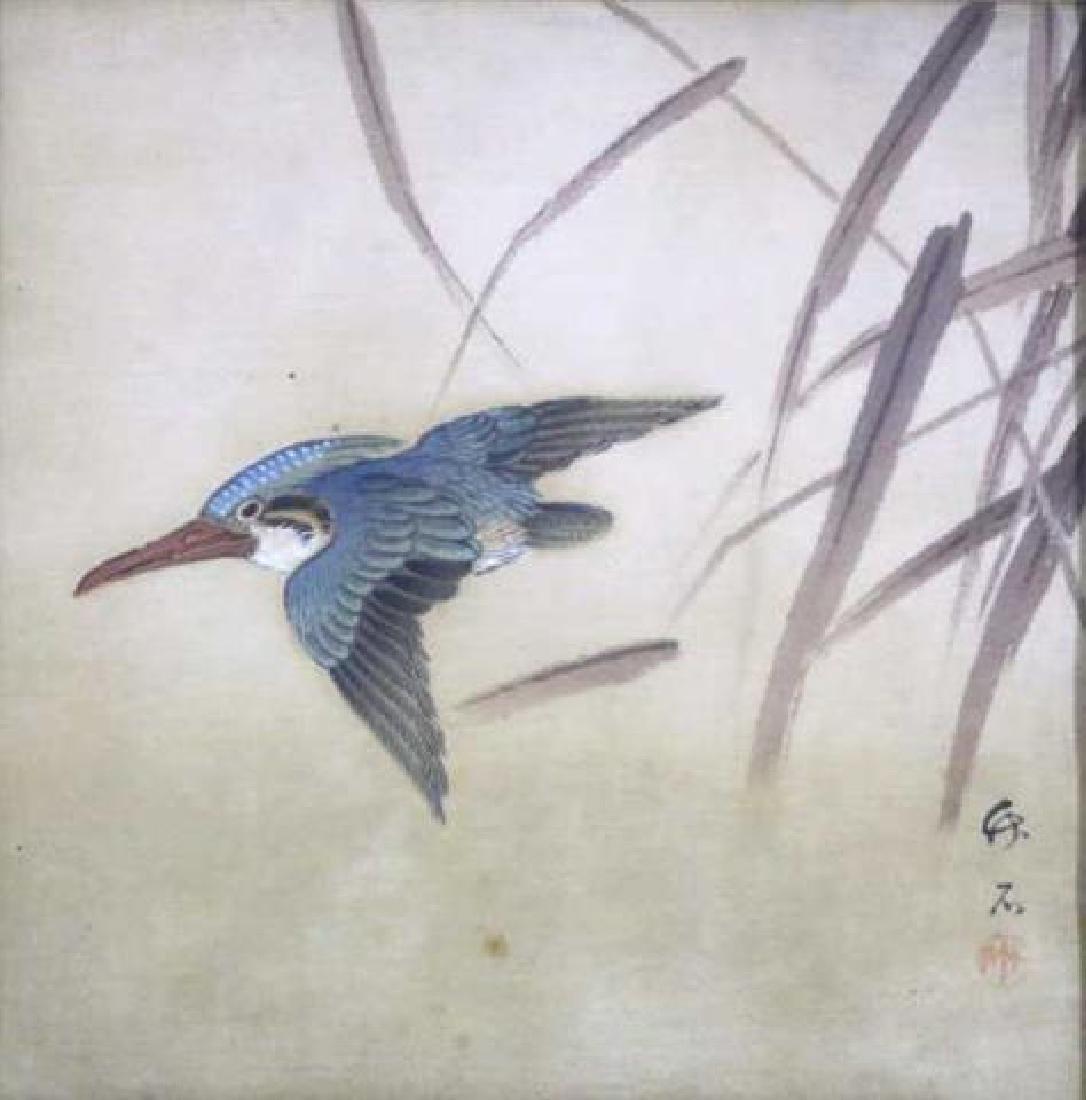 ASIAN  FRAMED BIRD WOODBLOCK ON SILK - 2