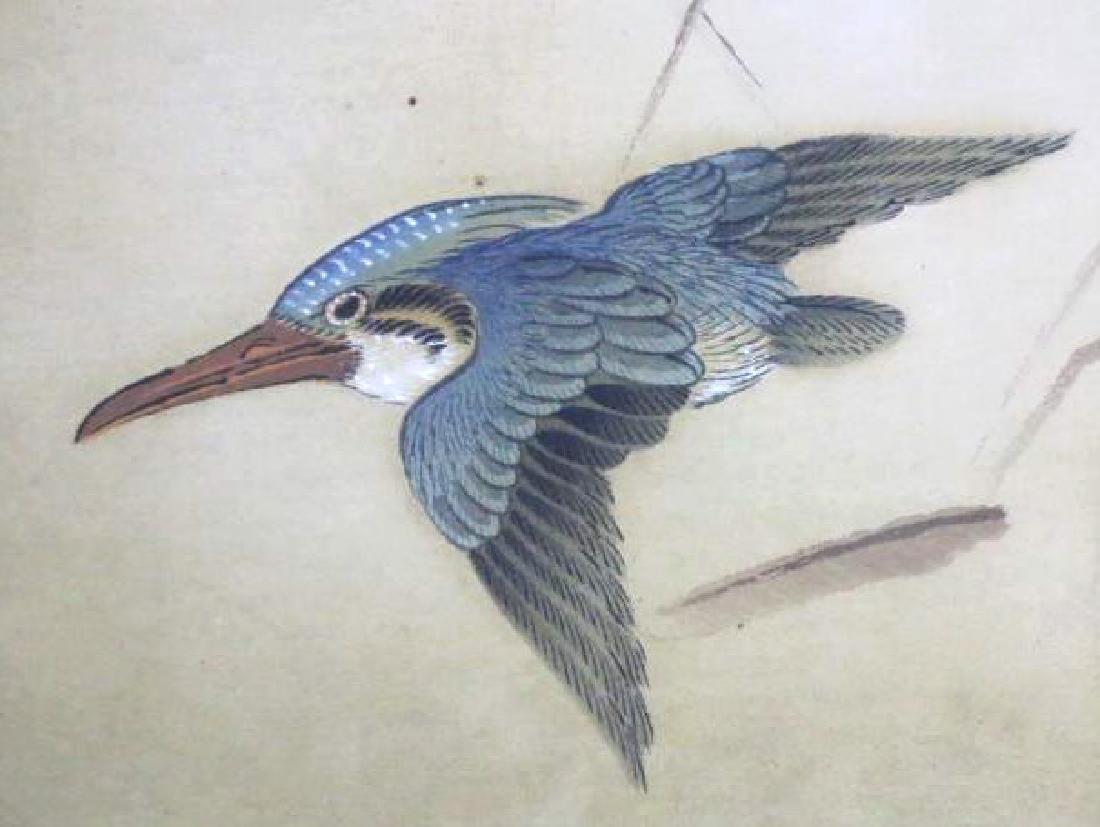 ASIAN  FRAMED BIRD WOODBLOCK ON SILK - 3