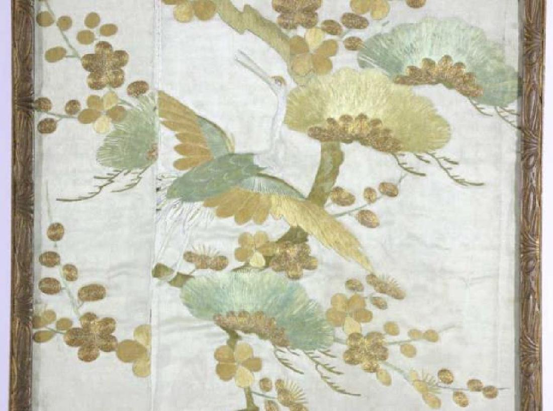 JAPANESE ANTIQUE SILK NEEDLEWORK TEXTILE FRAGMENT - 2