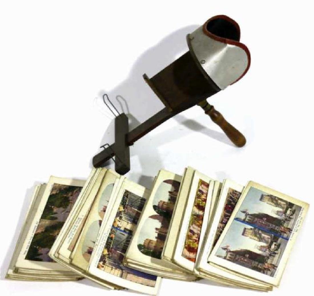 ANTIQUE STEREOSCOPE & VIEWING CARDS