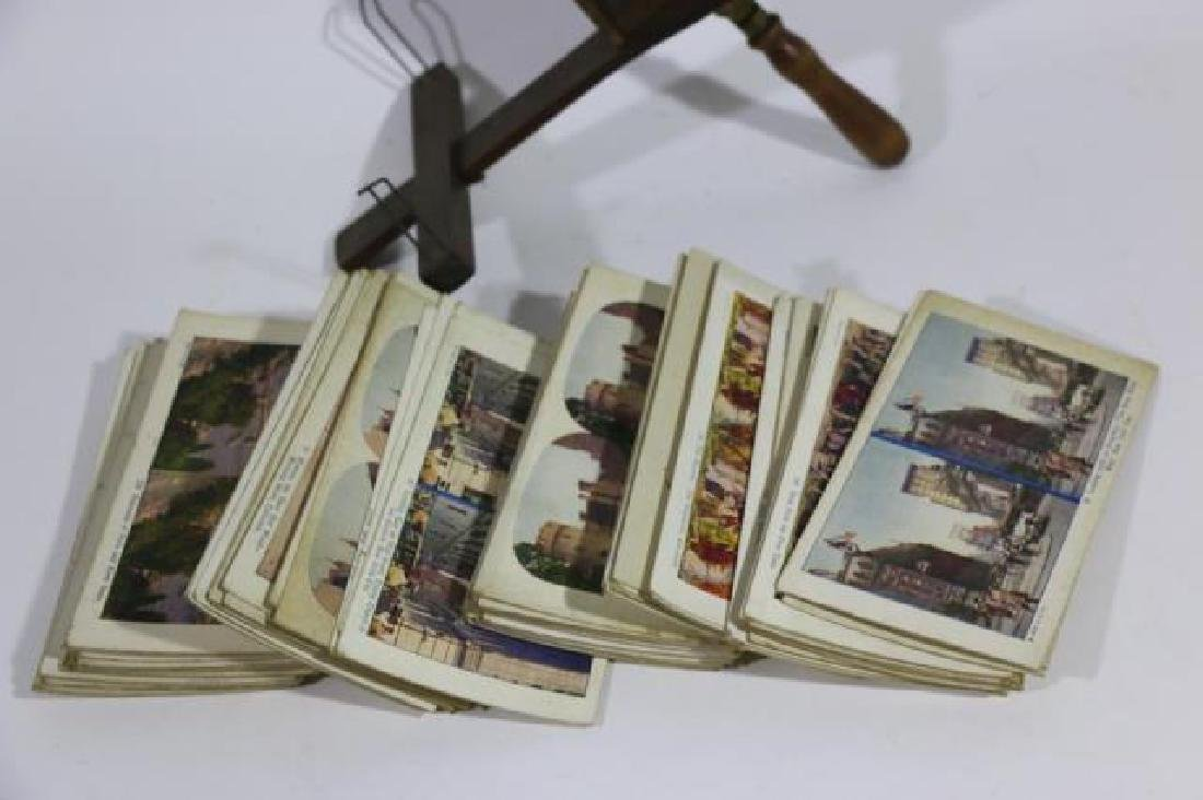 ANTIQUE STEREOSCOPE & VIEWING CARDS - 3