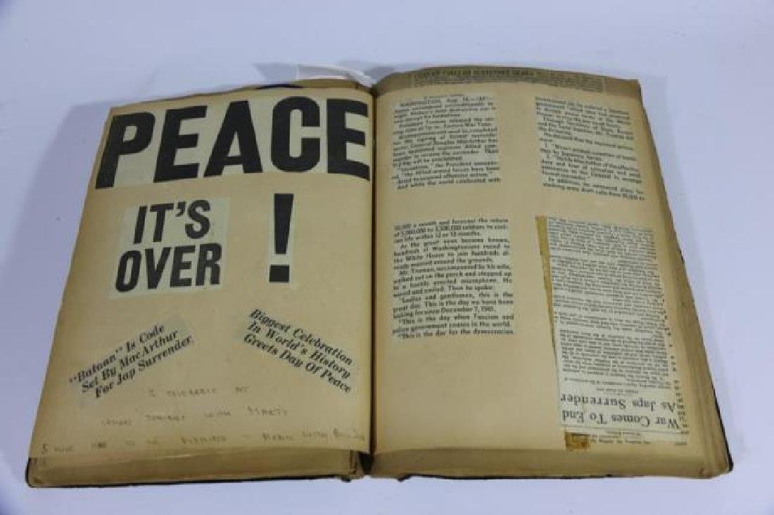 ANTIQUE SCRAPBOOK WITH PHOTOS AND WAR CLIPPINGS - 7