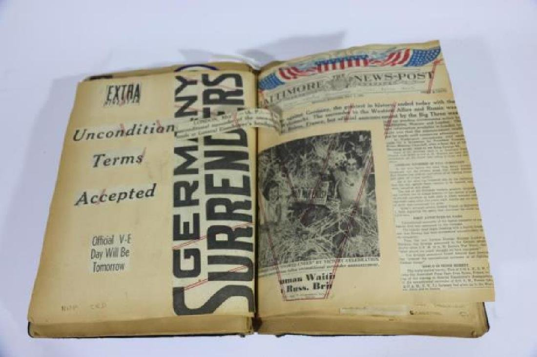 ANTIQUE SCRAPBOOK WITH PHOTOS AND WAR CLIPPINGS - 8