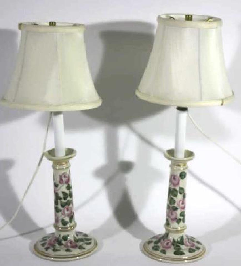 FLORAL PORCELAIN CUSTOM SHADED CANDLESTICK LAMPS