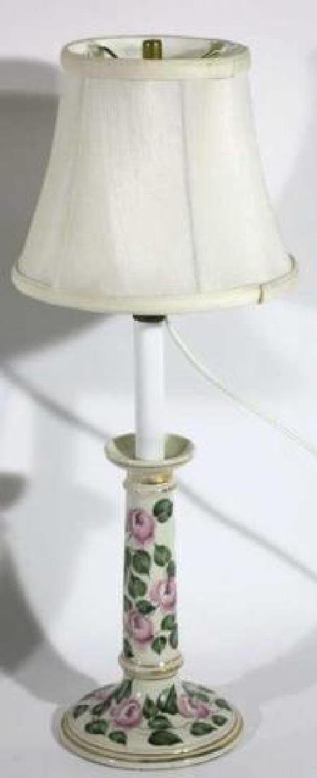 FLORAL PORCELAIN CUSTOM SHADED CANDLESTICK LAMPS - 2