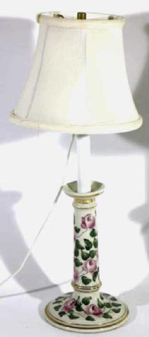 FLORAL PORCELAIN CUSTOM SHADED CANDLESTICK LAMPS - 3