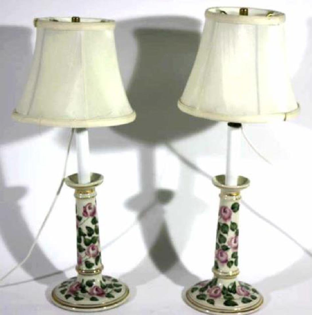 FLORAL PORCELAIN CUSTOM SHADED CANDLESTICK LAMPS - 4