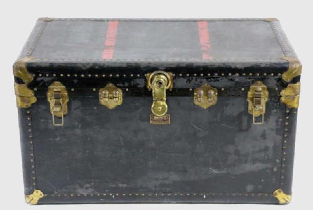 INDESTRUCTO  LEATHER NAIL TRIMMED STEAMER TRUNK