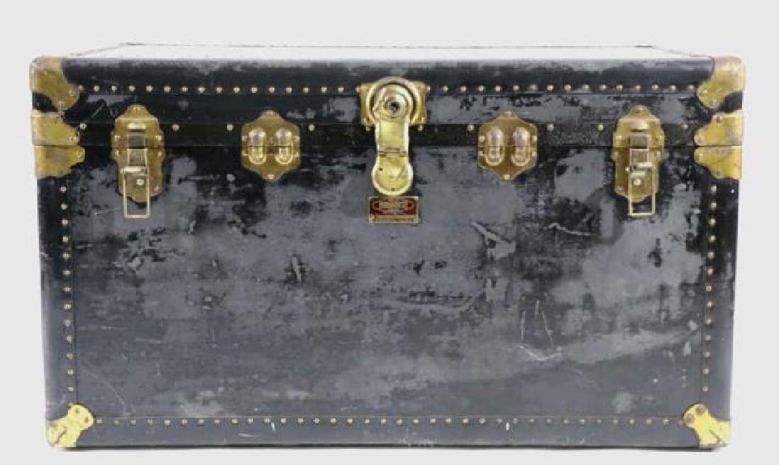 INDESTRUCTO  LEATHER NAIL TRIMMED STEAMER TRUNK - 2