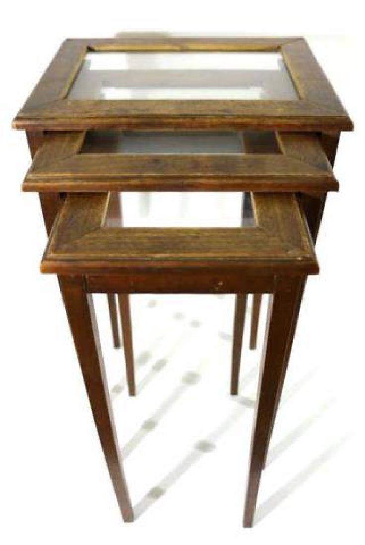 WALNUT VINTAGE NESTING TABLES - 2