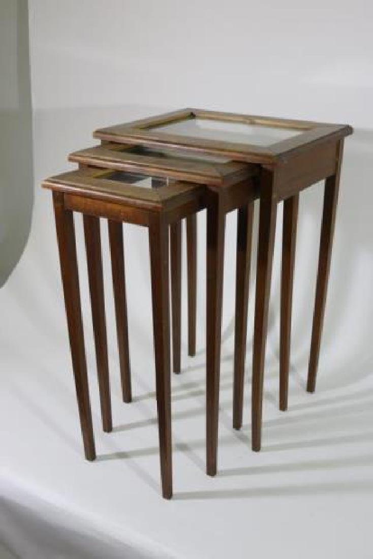 WALNUT VINTAGE NESTING TABLES - 5