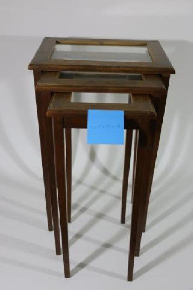 WALNUT VINTAGE NESTING TABLES - 6