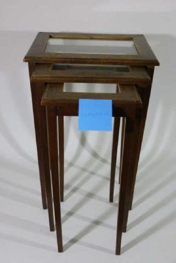 WALNUT VINTAGE NESTING TABLES - 7