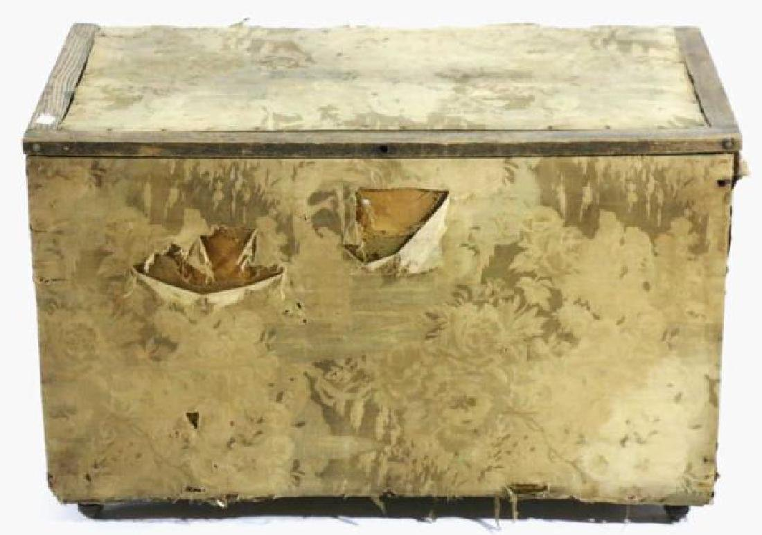 ENGLISH ANTIQUE PINE UPHOLSTERED SHIPPING TRUNK