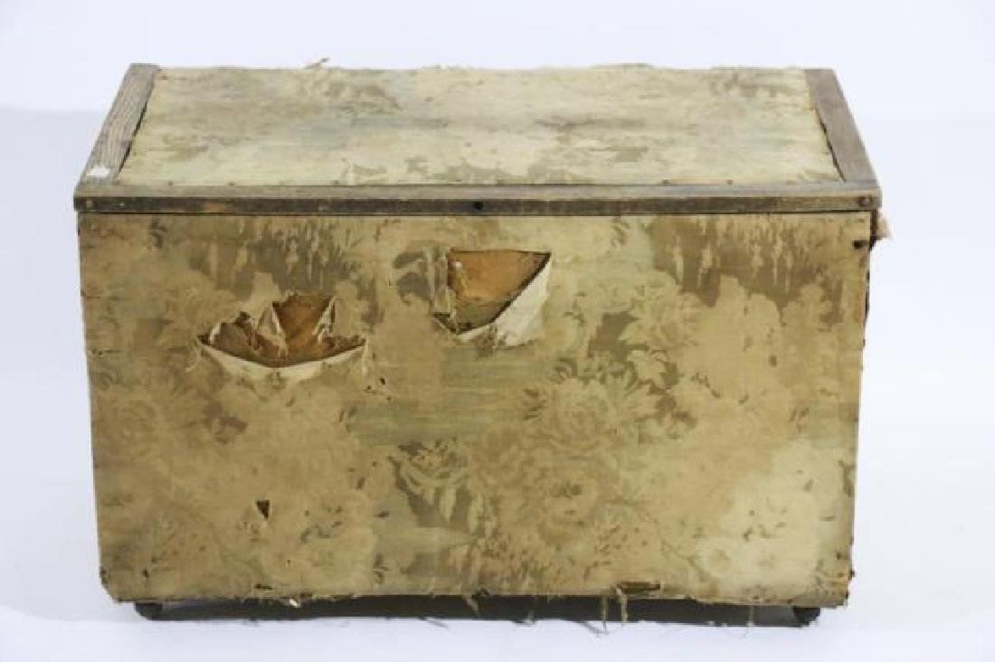 ENGLISH ANTIQUE PINE UPHOLSTERED SHIPPING TRUNK - 6