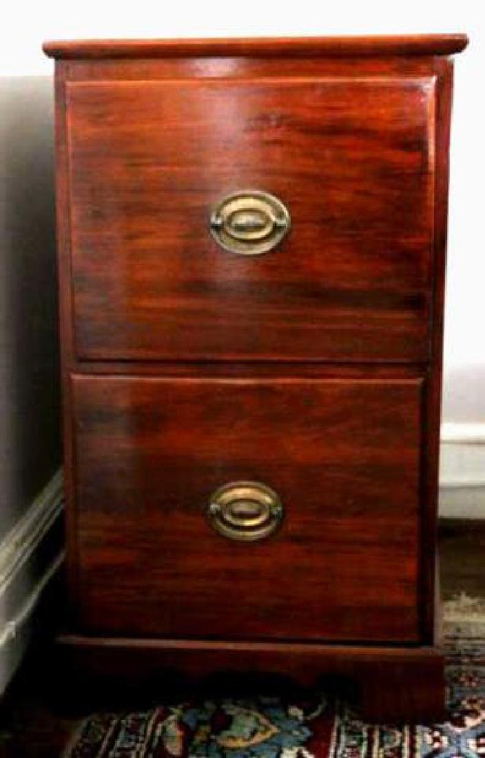 VINTAGE MAHOGANY TWO DRAWER FILE CABINET - 2