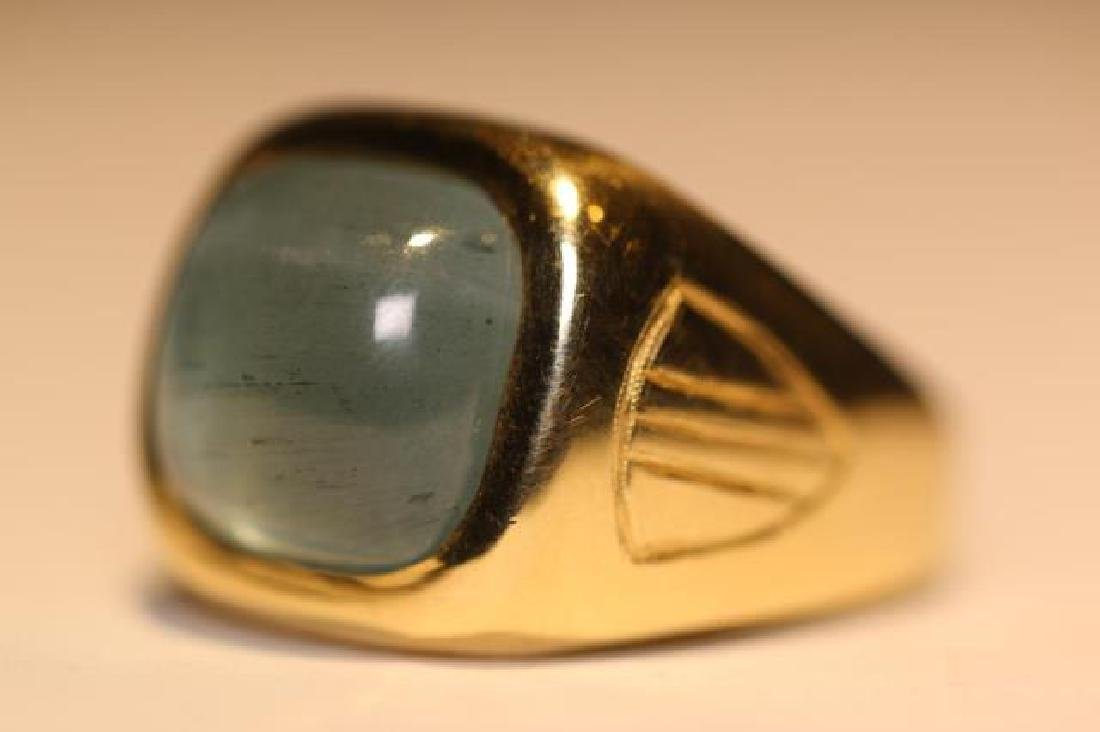 14K 8 CARAT CATS EYE AQUAMARINE CABOCHON MENS RING