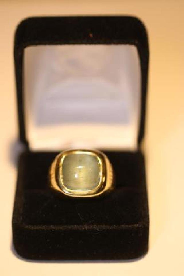 14K 8 CARAT CATS EYE AQUAMARINE CABOCHON MENS RING - 2