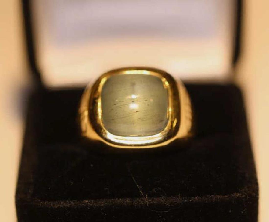 14K 8 CARAT CATS EYE AQUAMARINE CABOCHON MENS RING - 3