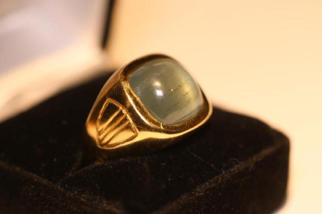 14K 8 CARAT CATS EYE AQUAMARINE CABOCHON MENS RING - 4