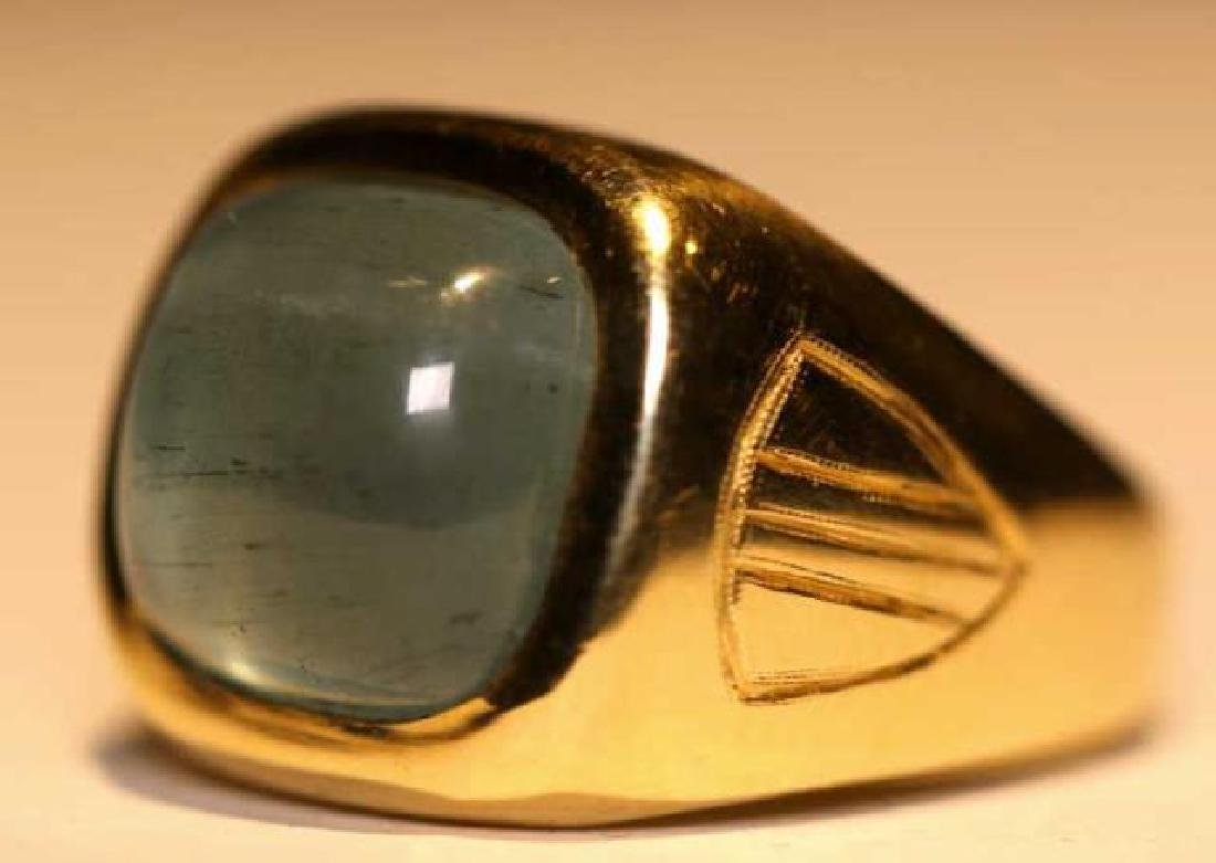 14K 8 CARAT CATS EYE AQUAMARINE CABOCHON MENS RING - 6