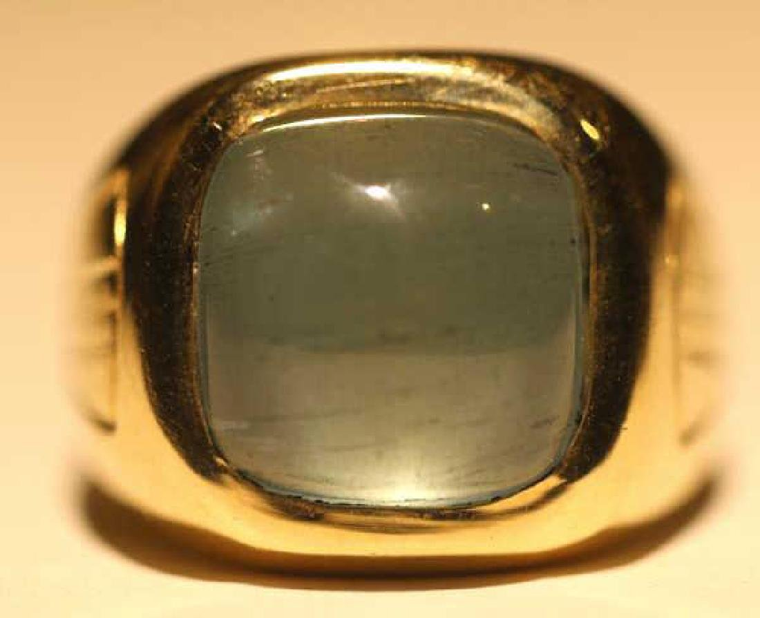 14K 8 CARAT CATS EYE AQUAMARINE CABOCHON MENS RING - 7