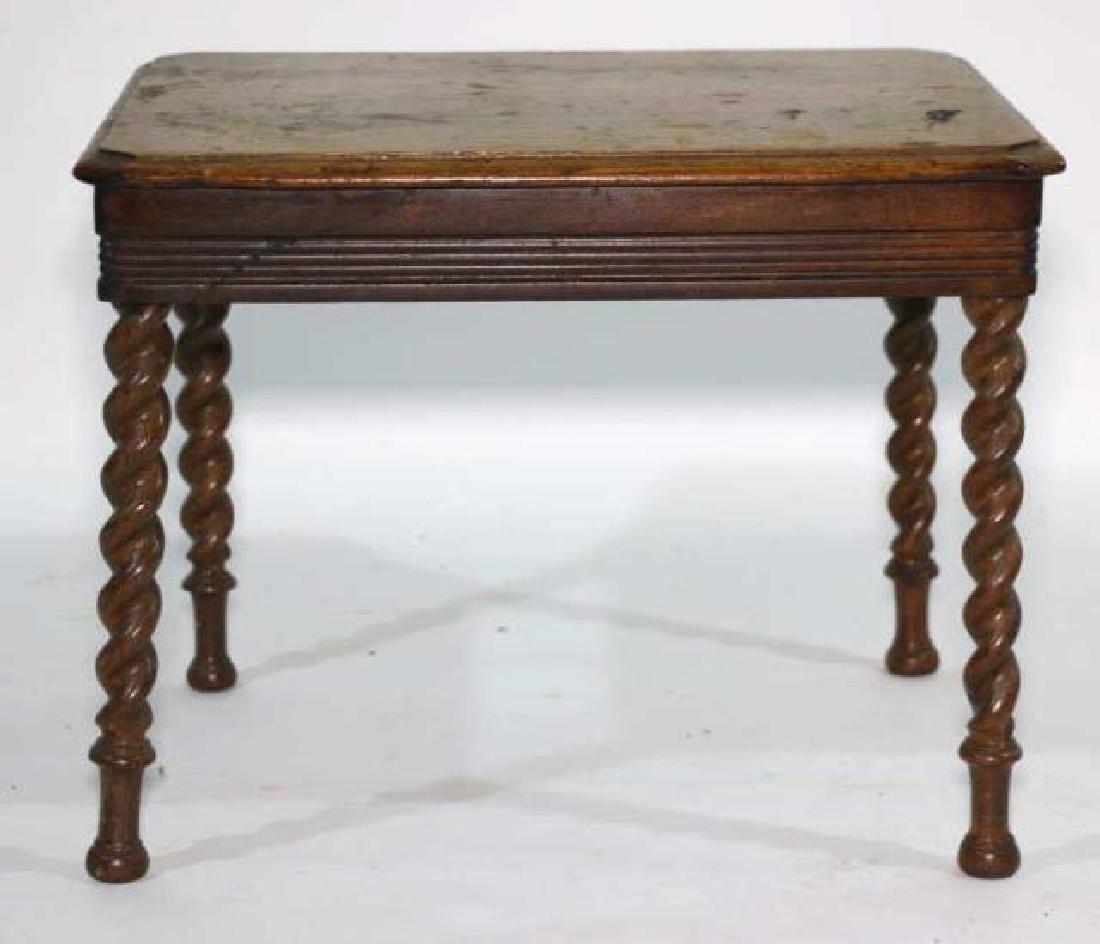 AMERCIAN ANTIQUE WALNUT BARLEY TWIST SIDE TABLE