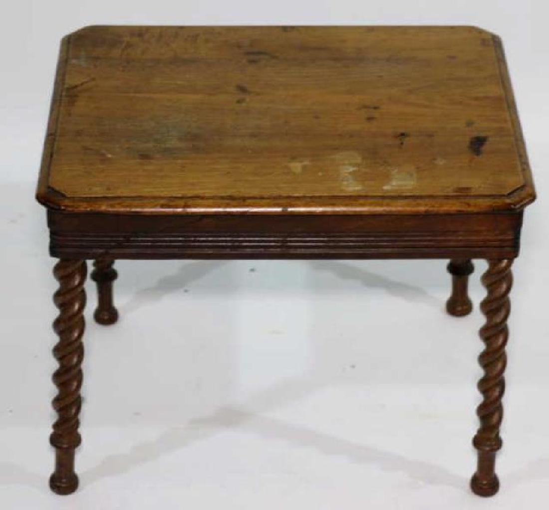 AMERCIAN ANTIQUE WALNUT BARLEY TWIST SIDE TABLE - 2