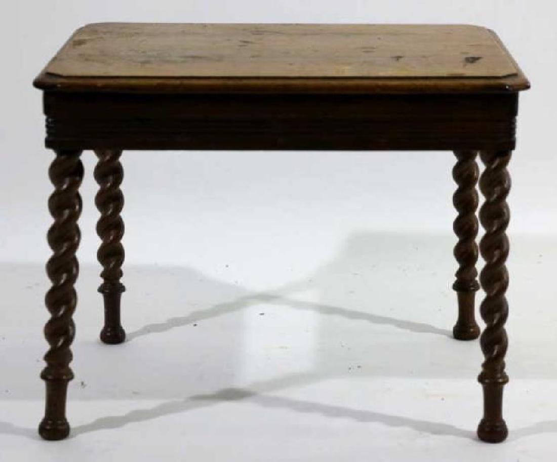 AMERCIAN ANTIQUE WALNUT BARLEY TWIST SIDE TABLE - 3