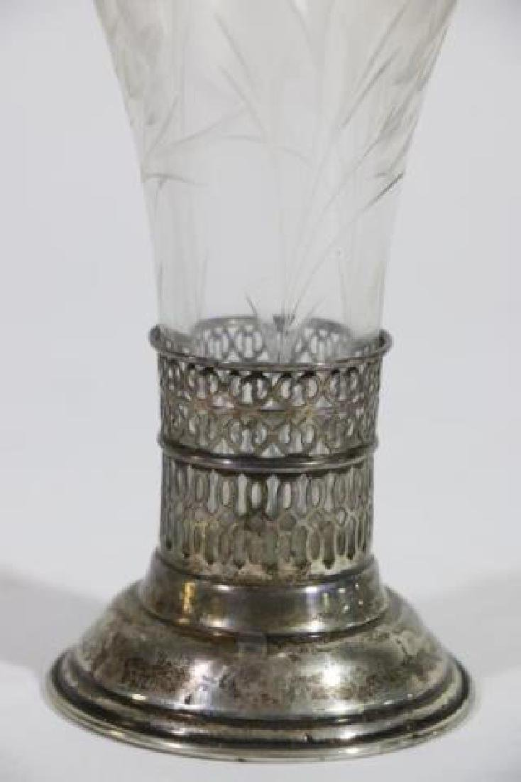 STERLING SILVER & CUT GLASS LINED TRUMPET VASE - 2
