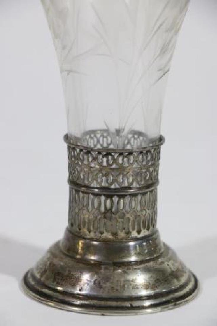 STERLING SILVER & CUT GLASS LINED TRUMPET VASE - 3