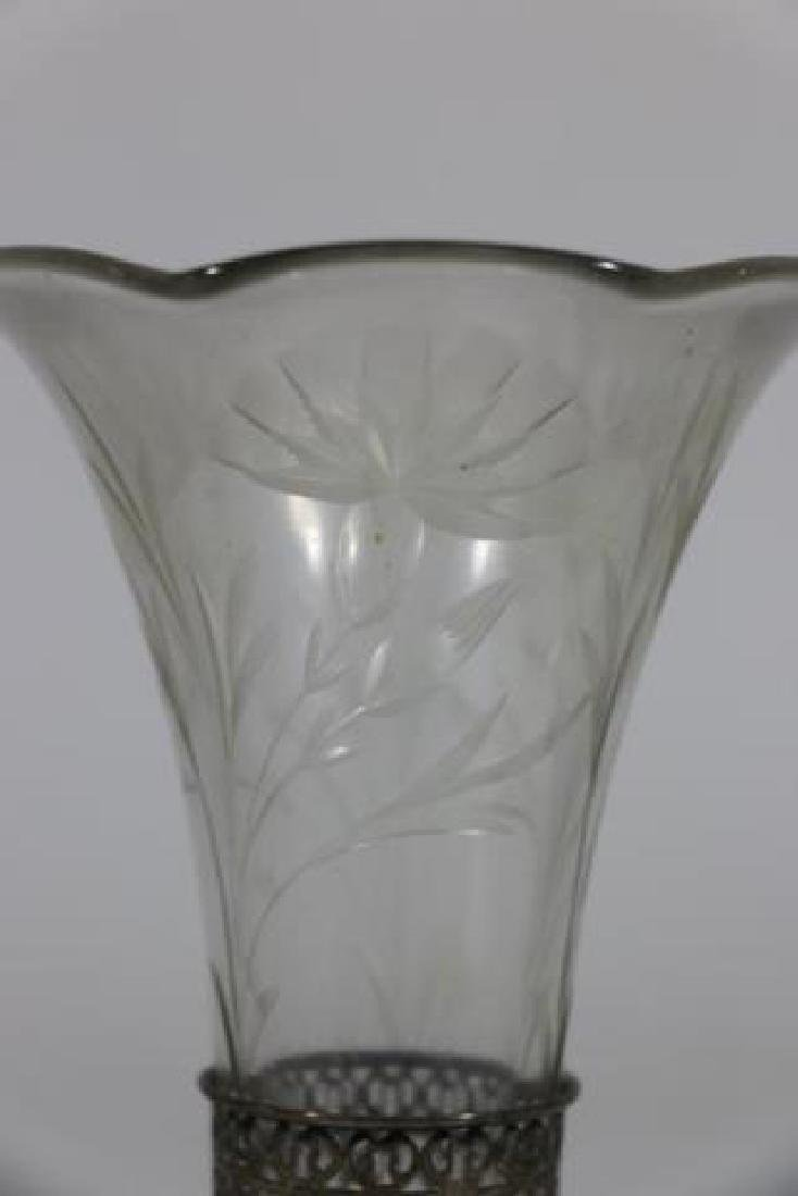 STERLING SILVER & CUT GLASS LINED TRUMPET VASE - 4