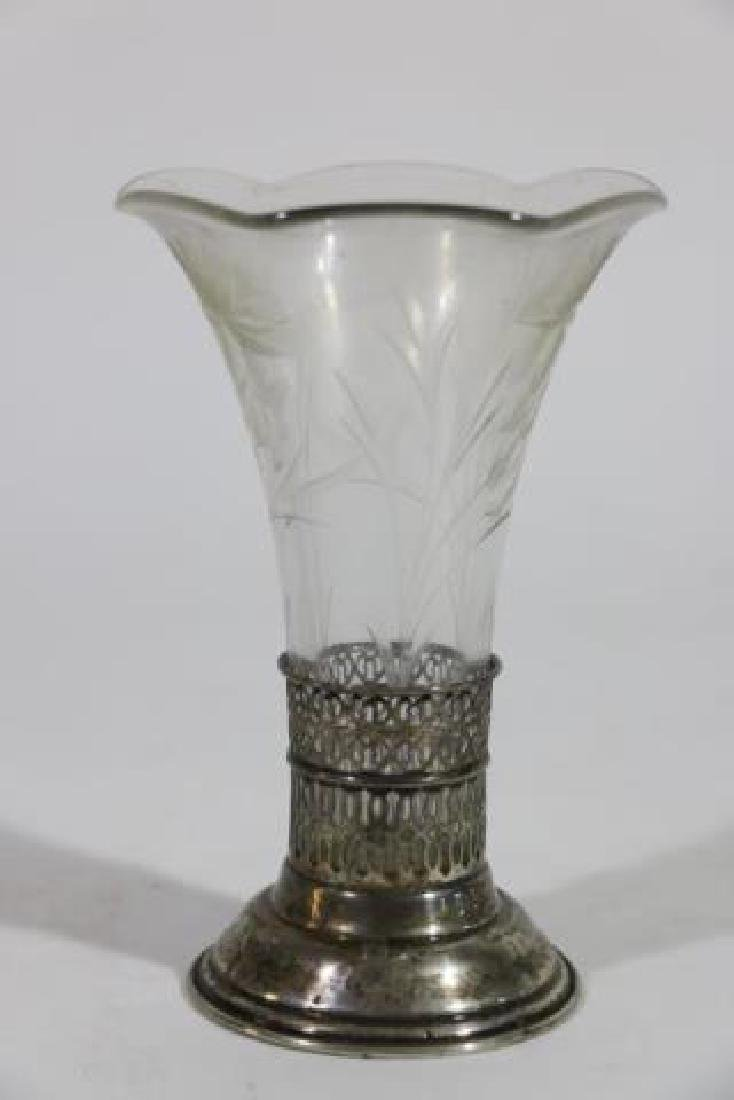 STERLING SILVER & CUT GLASS LINED TRUMPET VASE - 6