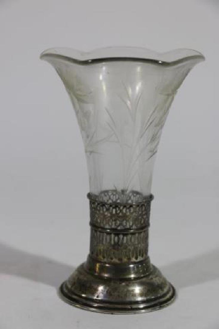 STERLING SILVER & CUT GLASS LINED TRUMPET VASE - 7