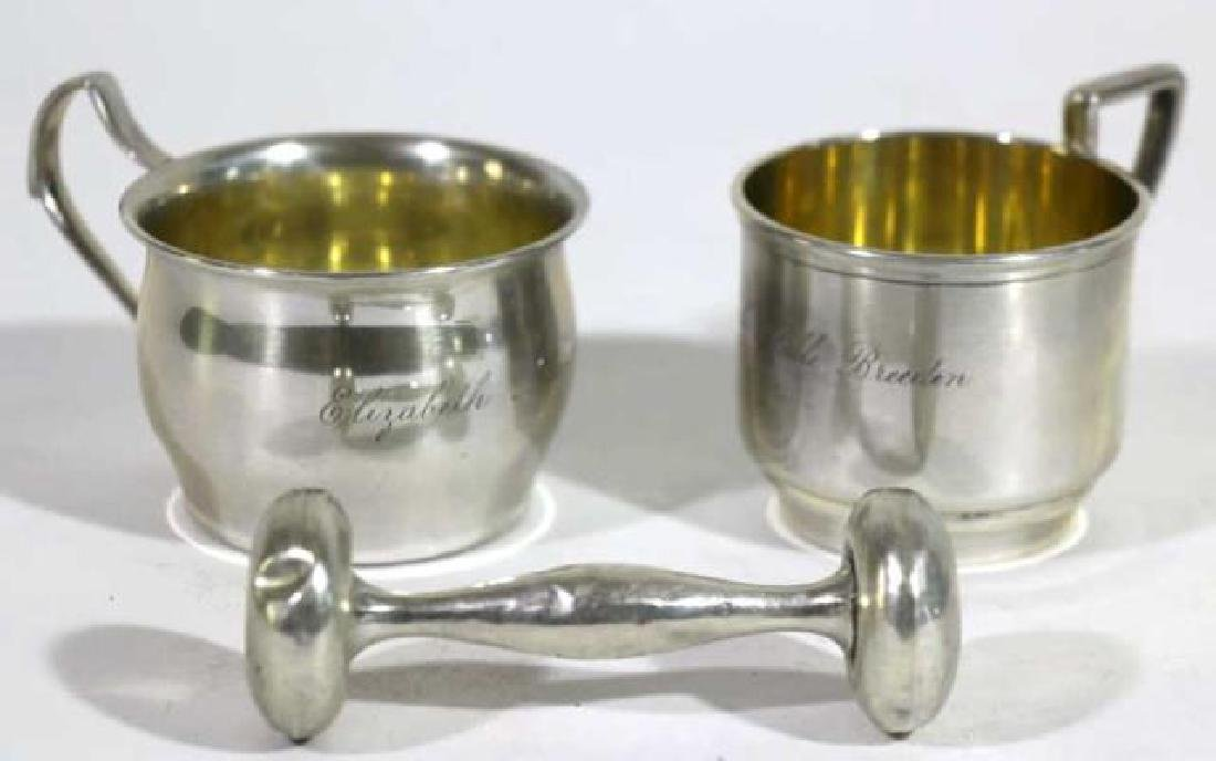STERLING SILVER BABY CUP & RATTLE GROUPING - 10