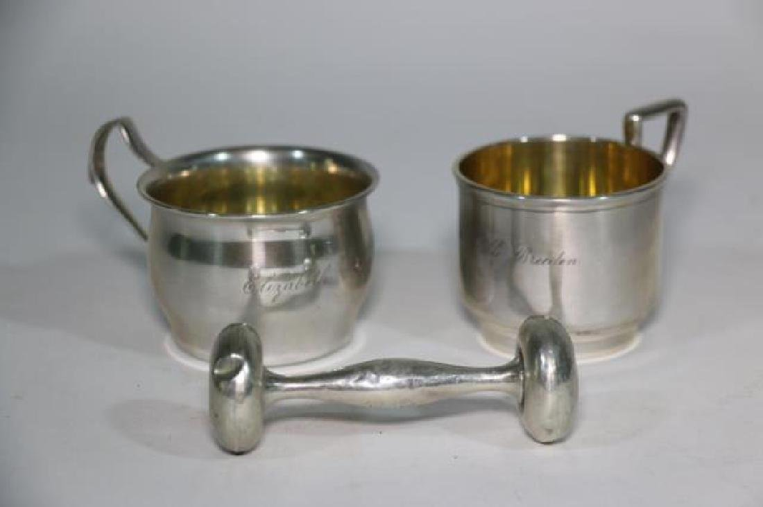 STERLING SILVER BABY CUP & RATTLE GROUPING