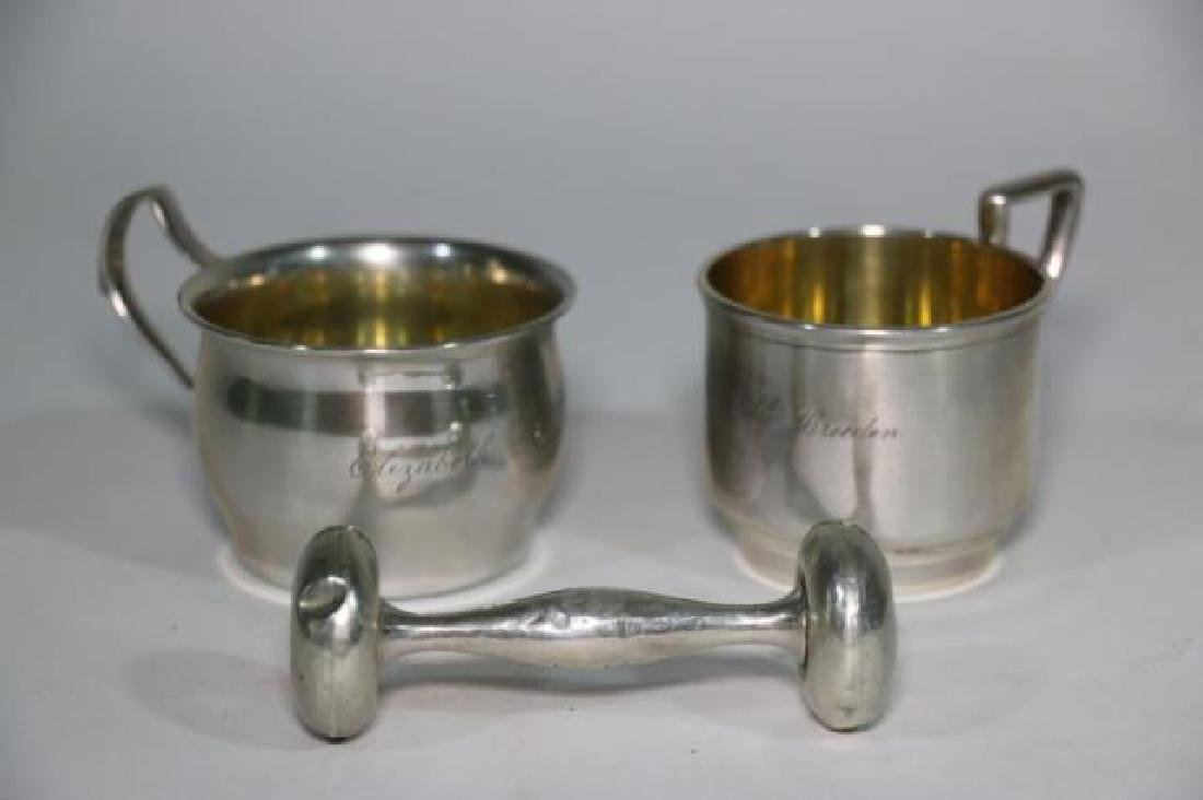 STERLING SILVER BABY CUP & RATTLE GROUPING - 2