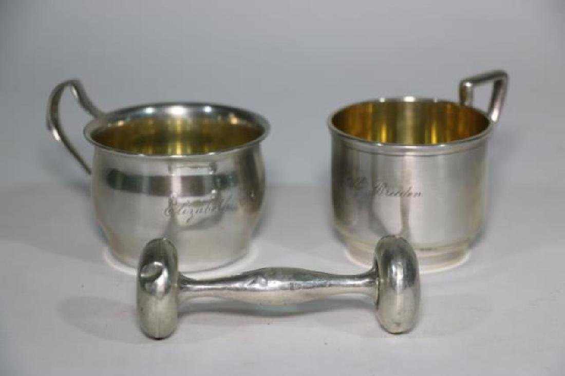 STERLING SILVER BABY CUP & RATTLE GROUPING - 3