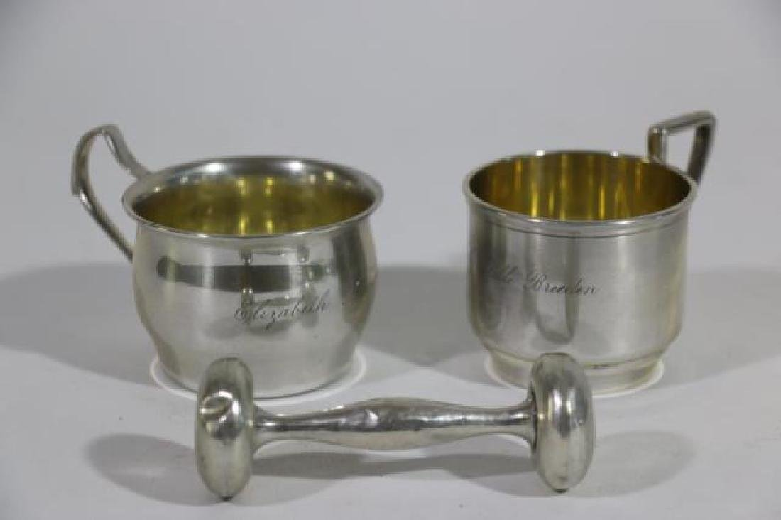 STERLING SILVER BABY CUP & RATTLE GROUPING - 9