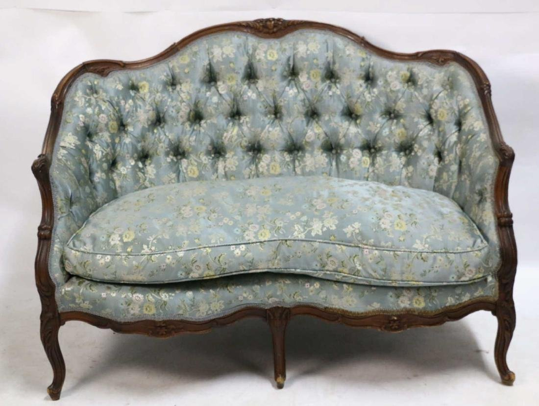 FRENCH ANTIQUE CUSTOM SILK DOWN NEEDLEWORK SETTEE - 10