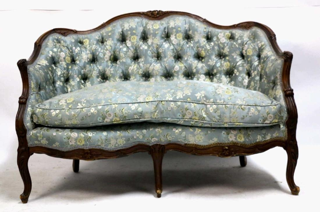 FRENCH ANTIQUE CUSTOM SILK DOWN NEEDLEWORK SETTEE - 2