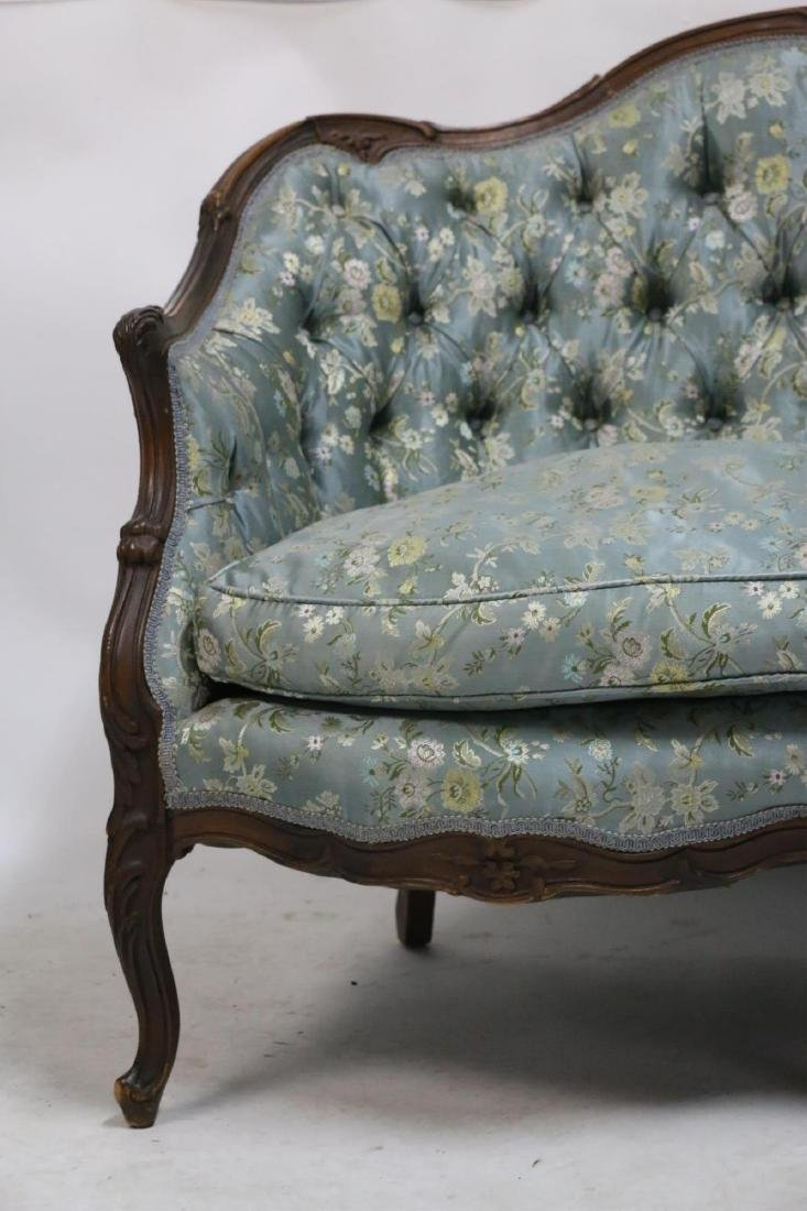 FRENCH ANTIQUE CUSTOM SILK DOWN NEEDLEWORK SETTEE - 4