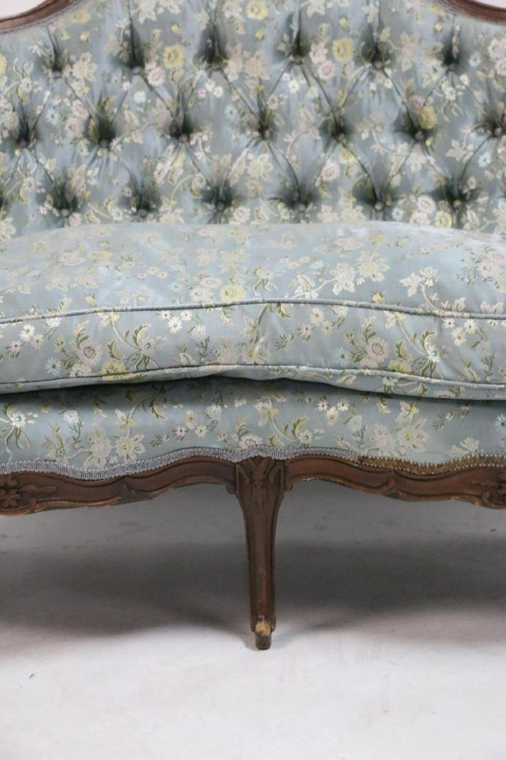 FRENCH ANTIQUE CUSTOM SILK DOWN NEEDLEWORK SETTEE - 5