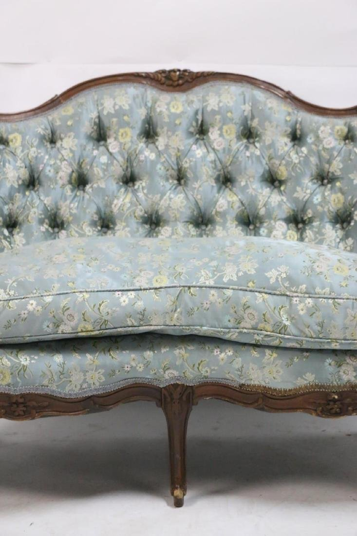 FRENCH ANTIQUE CUSTOM SILK DOWN NEEDLEWORK SETTEE - 6