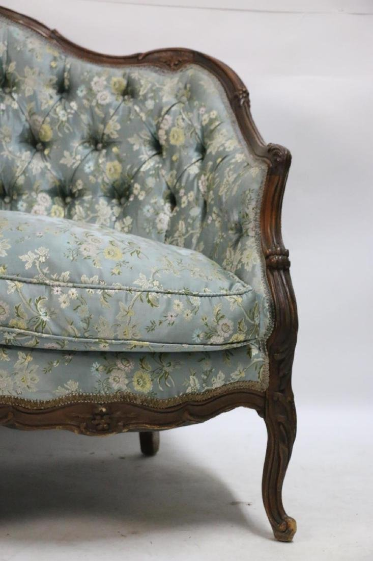 FRENCH ANTIQUE CUSTOM SILK DOWN NEEDLEWORK SETTEE - 7