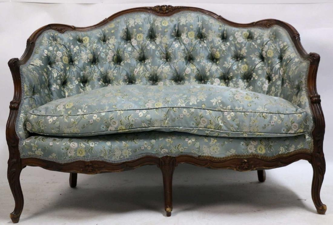 FRENCH ANTIQUE CUSTOM SILK DOWN NEEDLEWORK SETTEE - 8