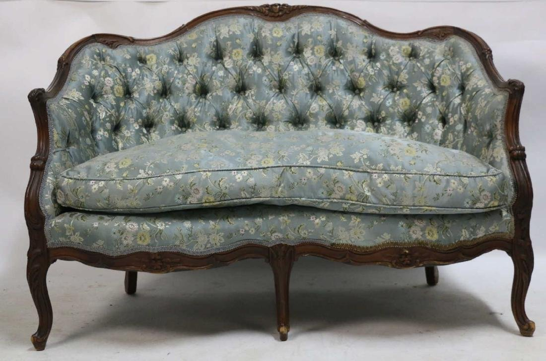 FRENCH ANTIQUE CUSTOM SILK DOWN NEEDLEWORK SETTEE - 9