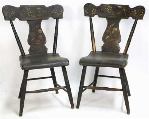 - AMERICAN ANTIQUE STENCIL BACK SIDE CHAIRS