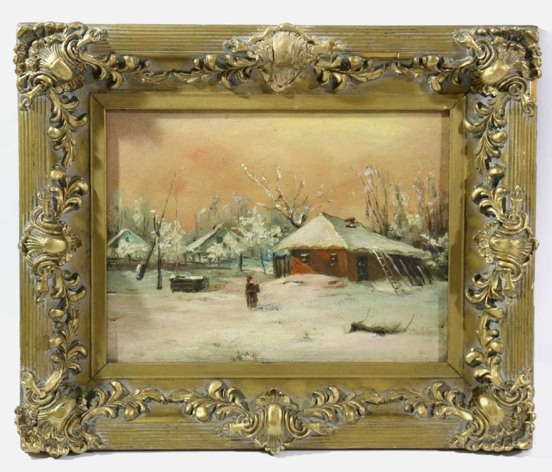 19TH C ENGLISH OIL ON BOARD IN GILDED FRAME